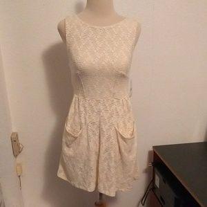 Free People Cream Lace Mini Dress.